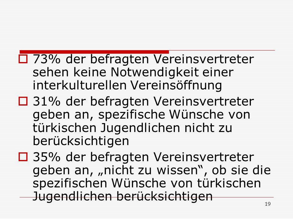 19 73% der befragten Vereinsvertreter sehen keine Notwendigkeit einer interkulturellen Vereinsöffnung 31% der befragten Vereinsvertreter geben an, spe