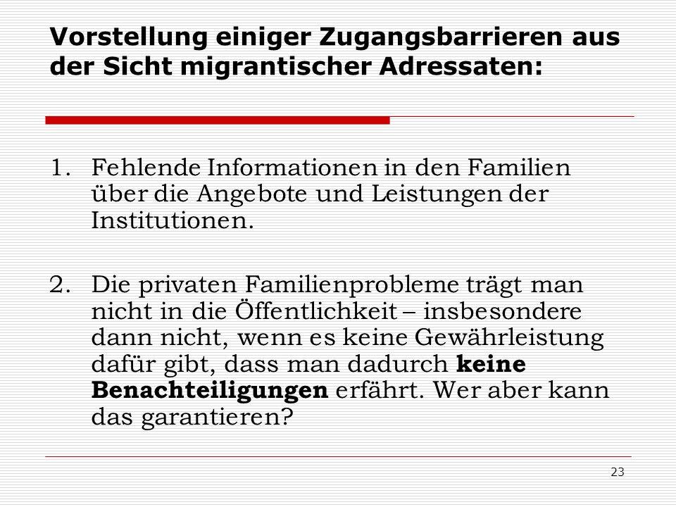 23 1.Fehlende Informationen in den Familien über die Angebote und Leistungen der Institutionen. 2.Die privaten Familienprobleme trägt man nicht in die