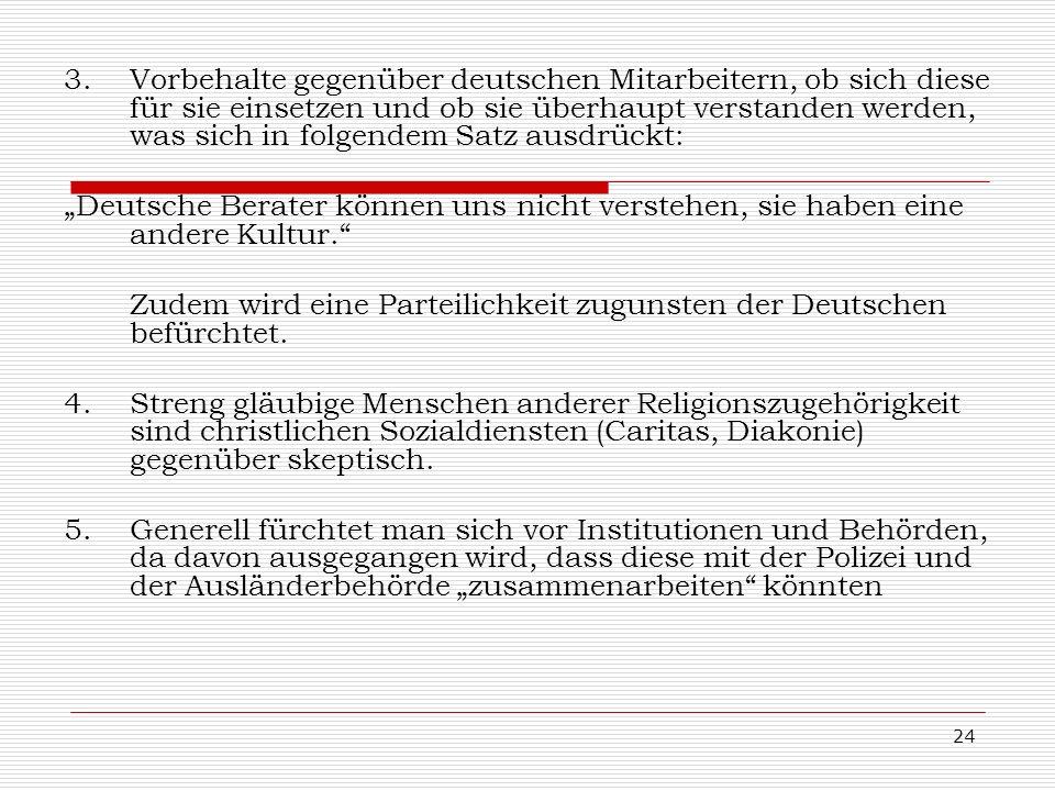 24 3.Vorbehalte gegenüber deutschen Mitarbeitern, ob sich diese für sie einsetzen und ob sie überhaupt verstanden werden, was sich in folgendem Satz a
