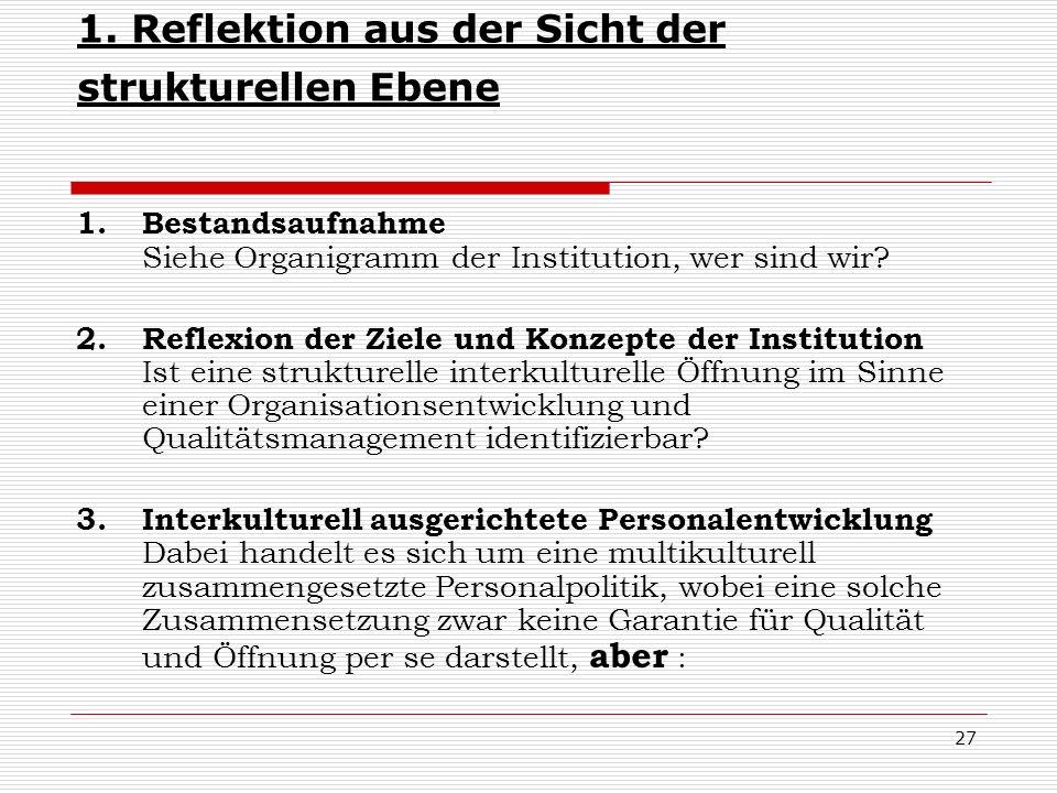 27 1. Reflektion aus der Sicht der strukturellen Ebene 1. Bestandsaufnahme Siehe Organigramm der Institution, wer sind wir? 2. Reflexion der Ziele und