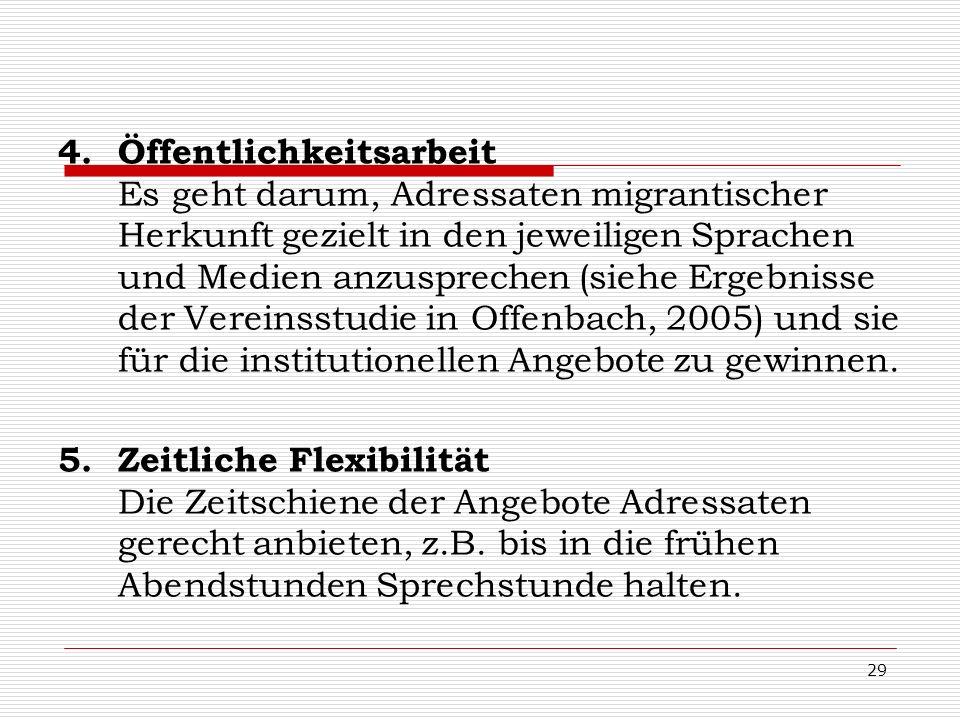 29 4.Öffentlichkeitsarbeit Es geht darum, Adressaten migrantischer Herkunft gezielt in den jeweiligen Sprachen und Medien anzusprechen (siehe Ergebnis