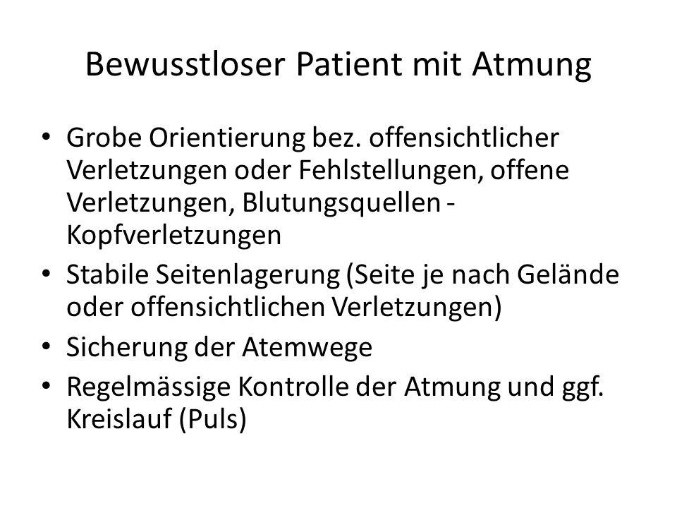 Bewusstloser Patient mit Atmung Grobe Orientierung bez. offensichtlicher Verletzungen oder Fehlstellungen, offene Verletzungen, Blutungsquellen - Kopf