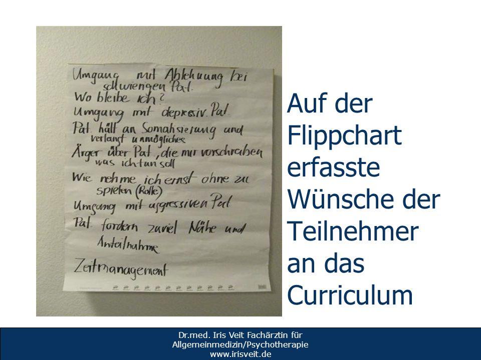 Auf der Flippchart erfasste Wünsche der Teilnehmer an das Curriculum Dr.med. Iris Veit Fachärztin für Allgemeinmedizin/Psychotherapie www.irisveit.de