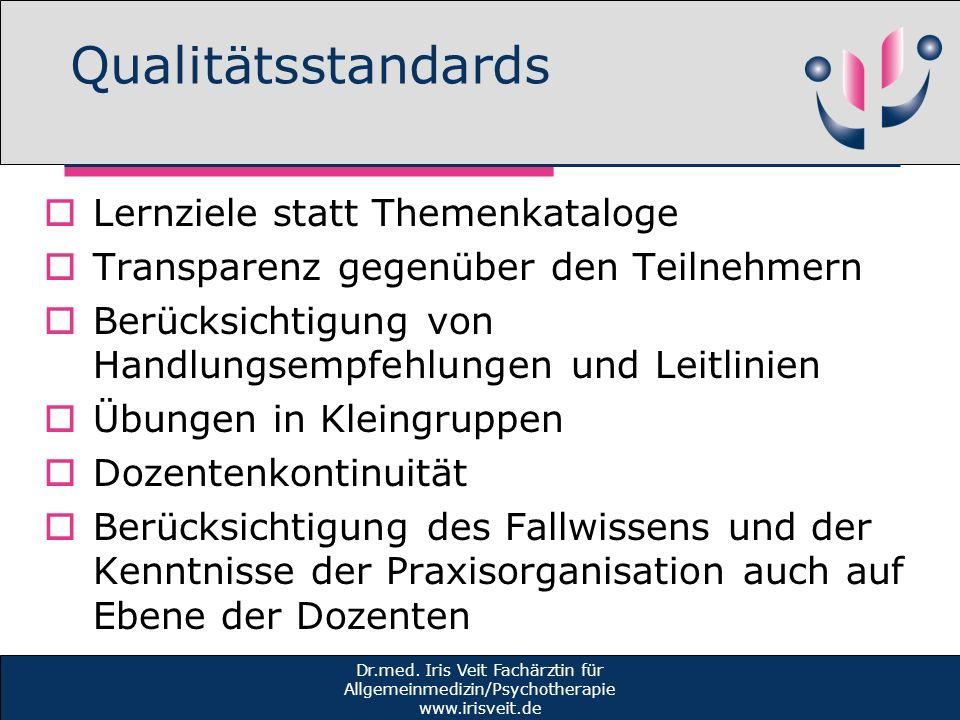 Qualitätsstandards Lernziele statt Themenkataloge Transparenz gegenüber den Teilnehmern Berücksichtigung von Handlungsempfehlungen und Leitlinien Übun