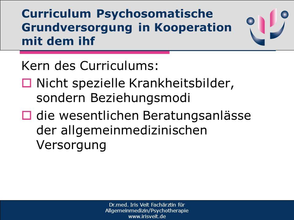 Curriculum Psychosomatische Grundversorgung in Kooperation mit dem ihf Kern des Curriculums: Nicht spezielle Krankheitsbilder, sondern Beziehungsmodi