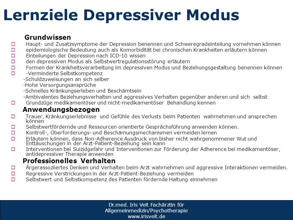 Lernziele Depressiver Modus Grundwissen Haupt- und Zusatzsymptome der Depression benennen und Schweregradeinteilung vornehmen können epidemiologische