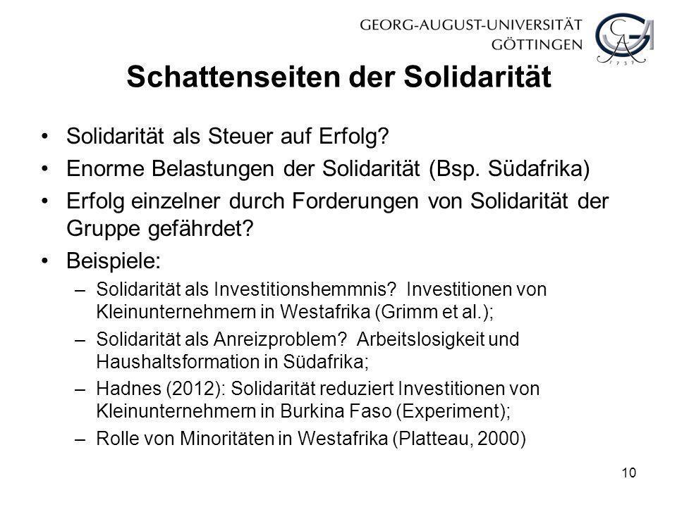 Schattenseiten der Solidarität Solidarität als Steuer auf Erfolg? Enorme Belastungen der Solidarität (Bsp. Südafrika) Erfolg einzelner durch Forderung