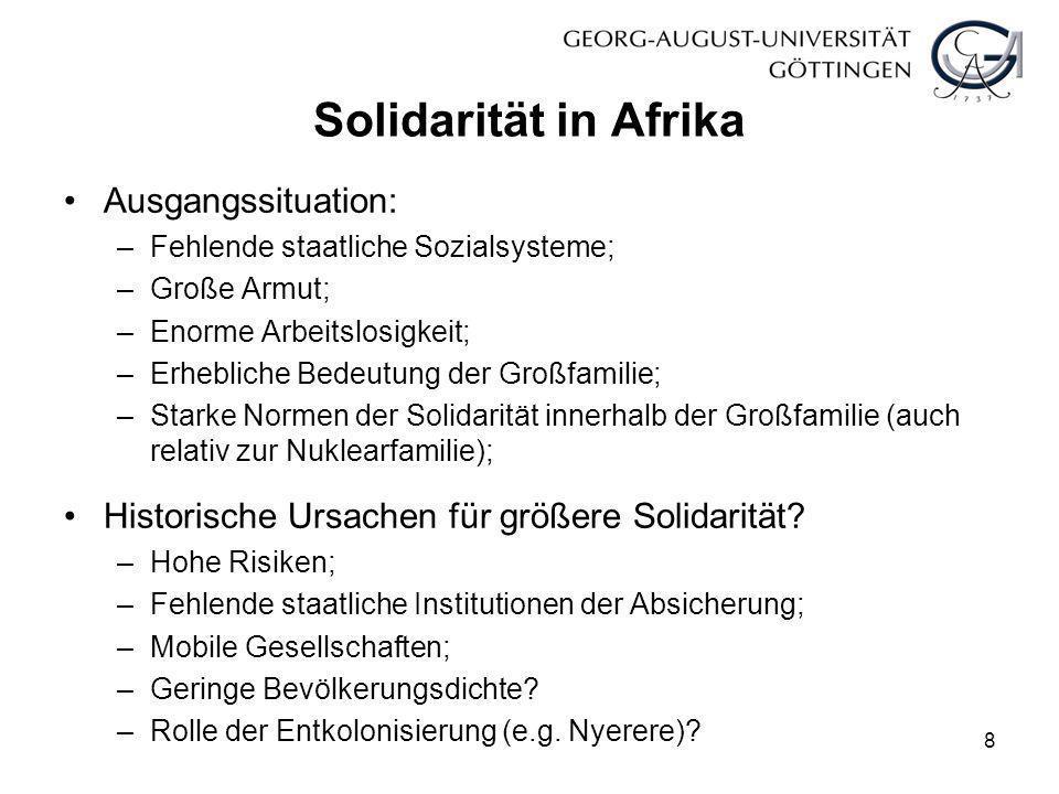 Solidarität in Afrika Ausgangssituation: –Fehlende staatliche Sozialsysteme; –Große Armut; –Enorme Arbeitslosigkeit; –Erhebliche Bedeutung der Großfam
