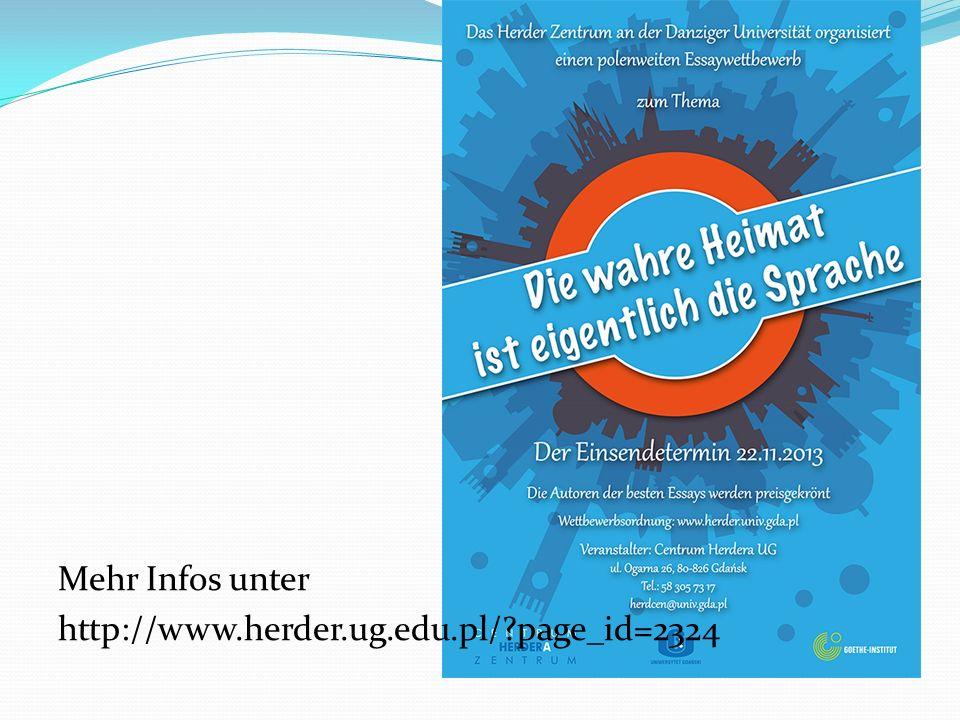 Mehr Infos unter http://www.herder.ug.edu.pl/?page_id=2324