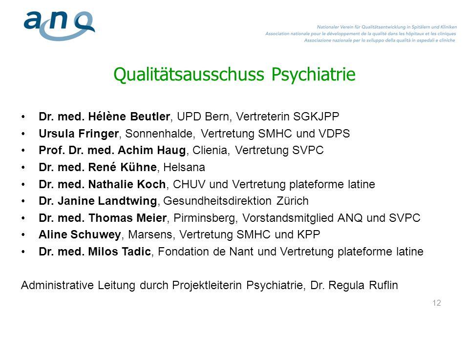 12 Qualitätsausschuss Psychiatrie Dr. med. Hélène Beutler, UPD Bern, Vertreterin SGKJPP Ursula Fringer, Sonnenhalde, Vertretung SMHC und VDPS Prof. Dr