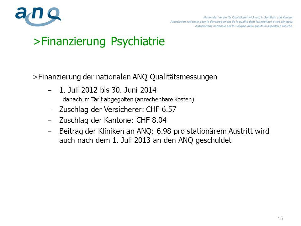 >Finanzierung Psychiatrie >Finanzierung der nationalen ANQ Qualitätsmessungen 1. Juli 2012 bis 30. Juni 2014 danach im Tarif abgegolten (anrechenbare