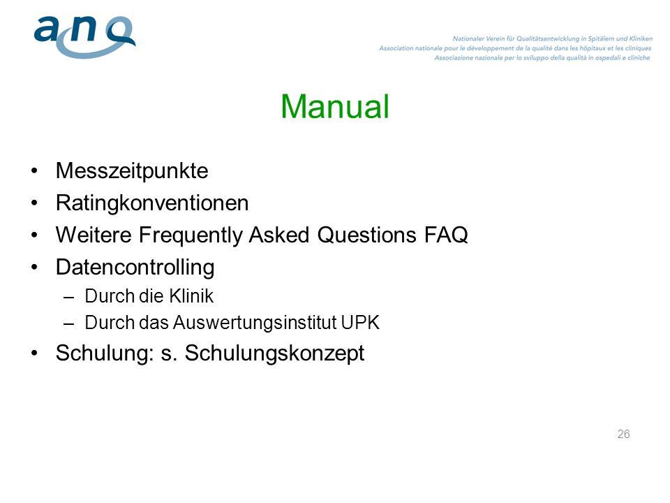 26 Manual Messzeitpunkte Ratingkonventionen Weitere Frequently Asked Questions FAQ Datencontrolling –Durch die Klinik –Durch das Auswertungsinstitut U