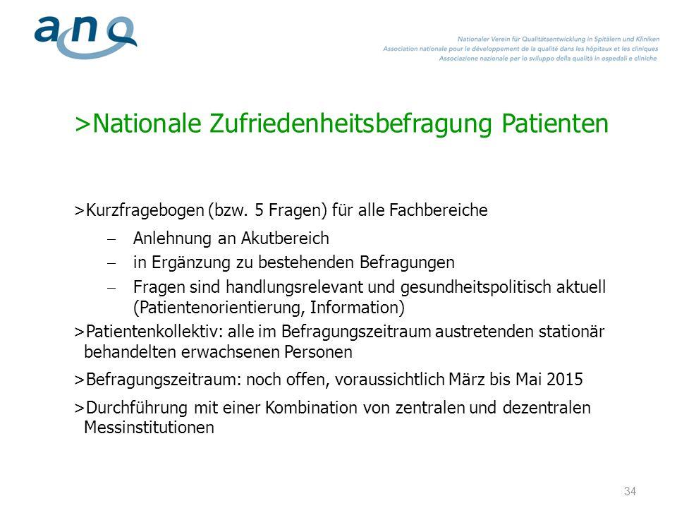 >Nationale Zufriedenheitsbefragung Patienten >Kurzfragebogen (bzw. 5 Fragen) für alle Fachbereiche Anlehnung an Akutbereich in Ergänzung zu bestehende