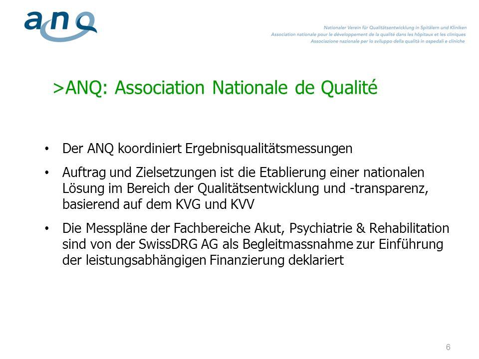 >ANQ: Association Nationale de Qualité Der ANQ koordiniert Ergebnisqualitätsmessungen Auftrag und Zielsetzungen ist die Etablierung einer nationalen L
