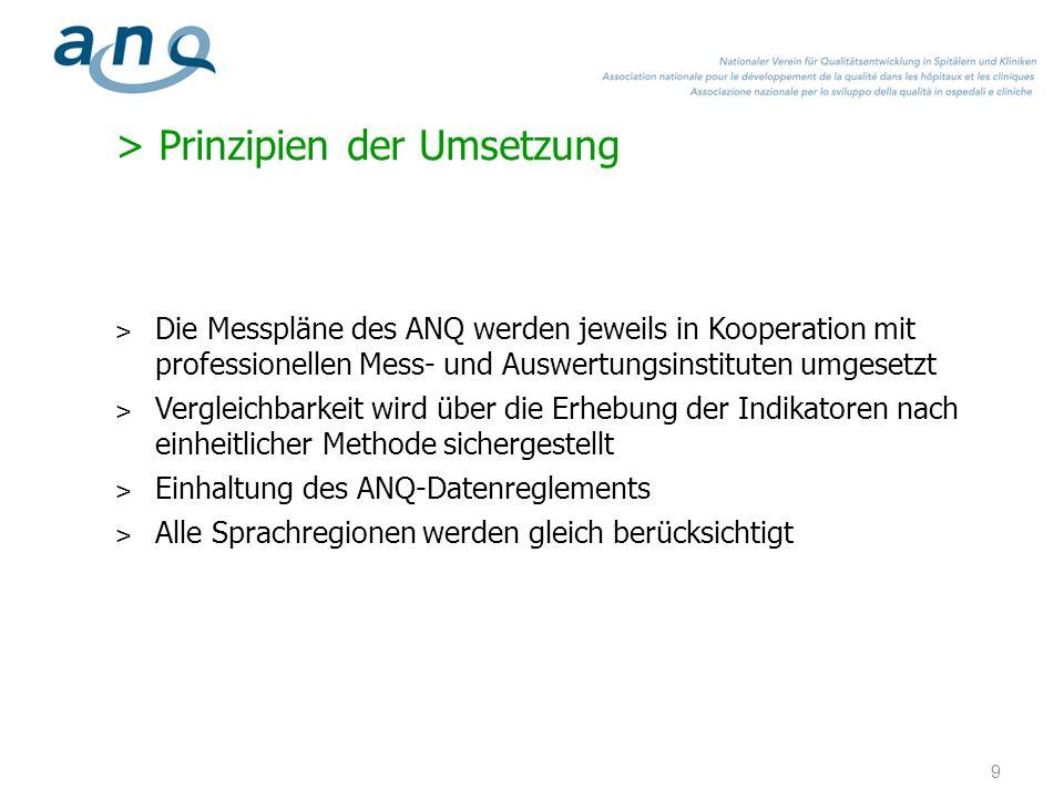 > Prinzipien der Umsetzung ˃ Die Messpläne des ANQ werden jeweils in Kooperation mit professionellen Mess- und Auswertungsinstituten umgesetzt ˃ Vergl