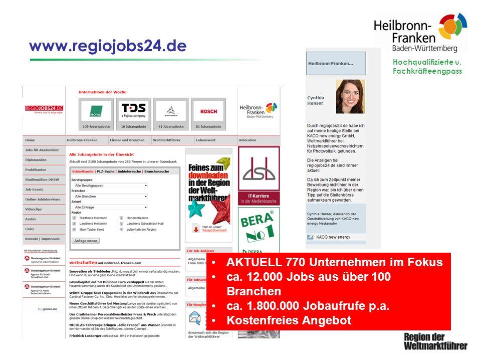 www.regiojobs24.de Hochqualifizierte u. Fachkräfteengpass AKTUELL 770 Unternehmen im Fokus ca. 12.000 Jobs aus über 100 Branchen ca. 1.800.000 Jobaufr