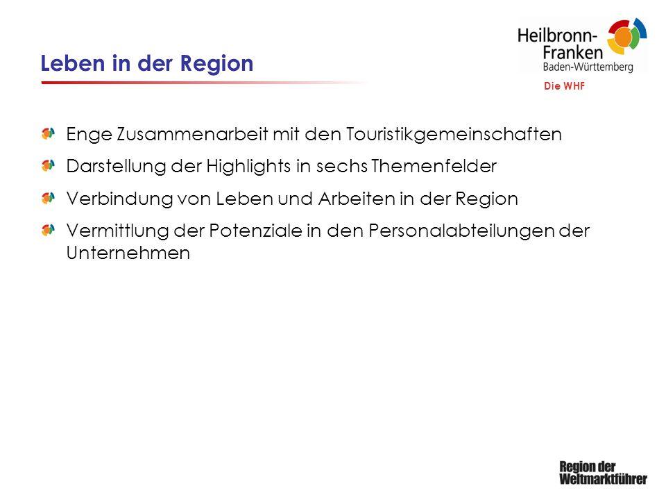 Die WHF Leben in der Region Enge Zusammenarbeit mit den Touristikgemeinschaften Darstellung der Highlights in sechs Themenfelder Verbindung von Leben und Arbeiten in der Region Vermittlung der Potenziale in den Personalabteilungen der Unternehmen