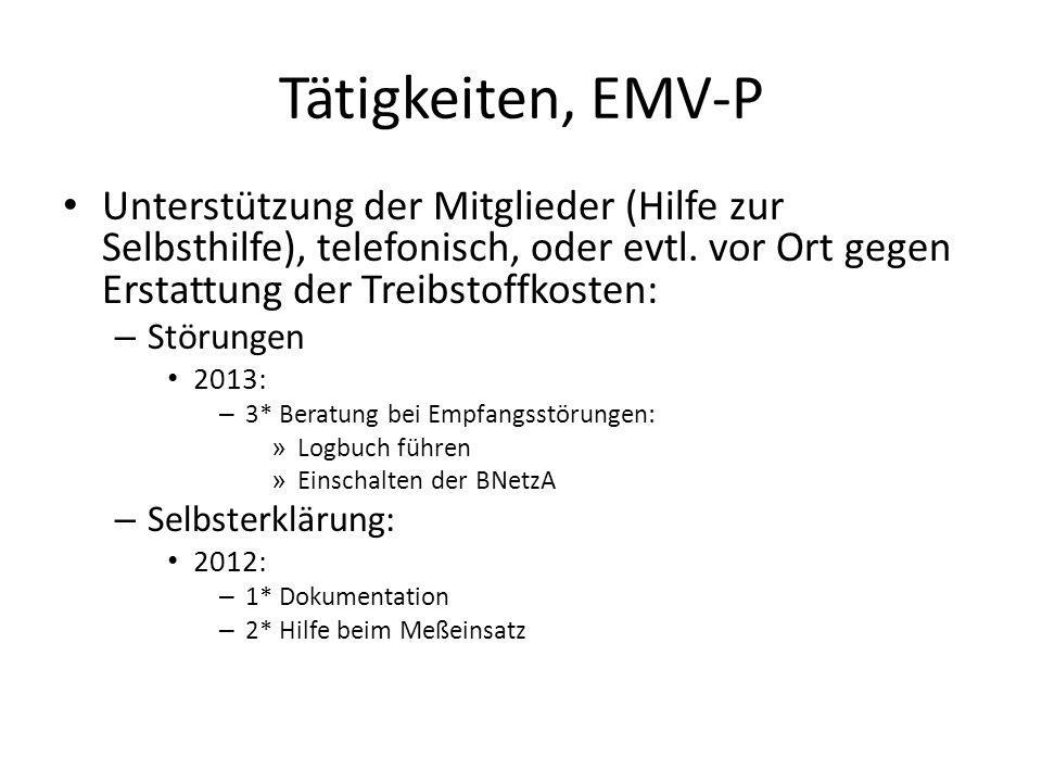 Tätigkeiten, EMV-P Unterstützung der Mitglieder (Hilfe zur Selbsthilfe), telefonisch, oder evtl. vor Ort gegen Erstattung der Treibstoffkosten: – Stör