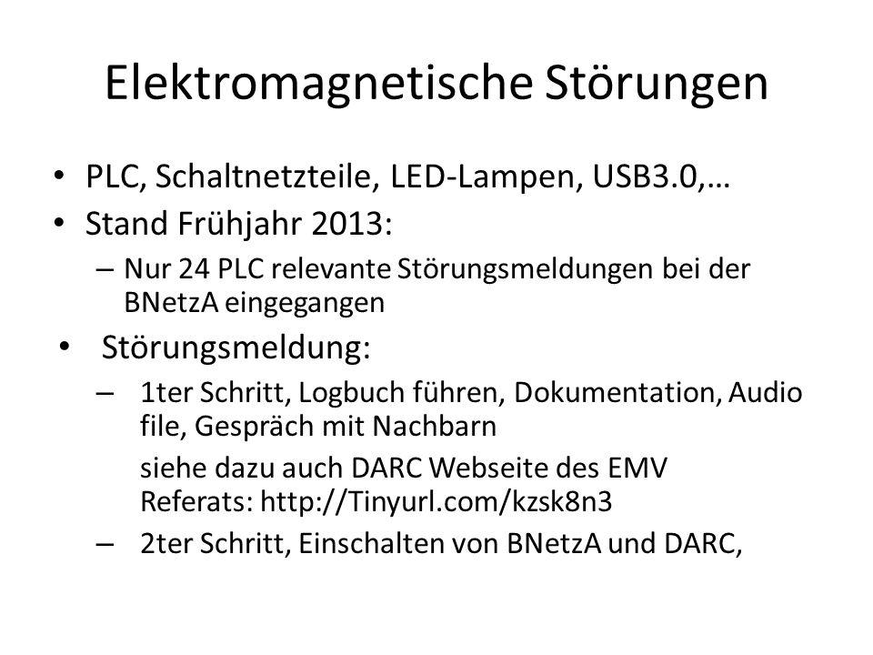 PLC, Schaltnetzteile, LED-Lampen, USB3.0,… Stand Frühjahr 2013: – Nur 24 PLC relevante Störungsmeldungen bei der BNetzA eingegangen Störungsmeldung: –