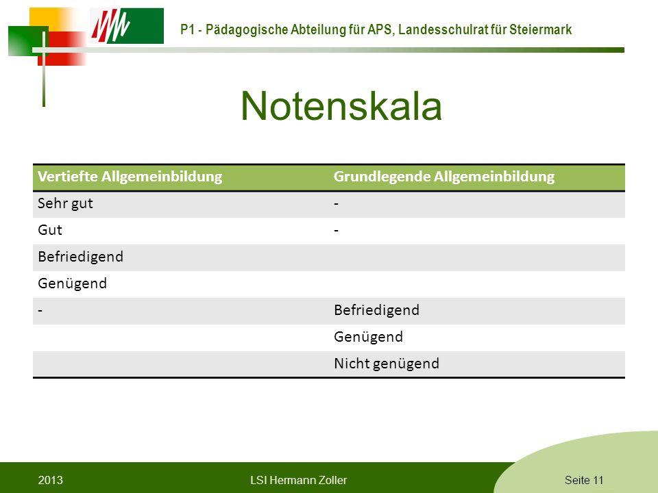 P1 - Pädagogische Abteilung für APS, Landesschulrat für Steiermark Formatvorlage © Rene Patak Notenskala Vertiefte AllgemeinbildungGrundlegende Allgem