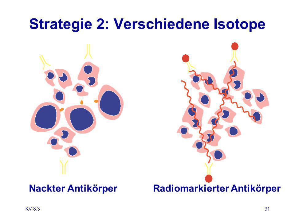 KV 8.331 Strategie 2: Verschiedene Isotope Nackter AntikörperRadiomarkierter Antikörper