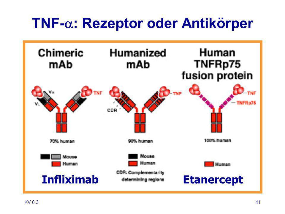 KV 8.341 EtanerceptInfliximab TNF- : Rezeptor oder Antikörper