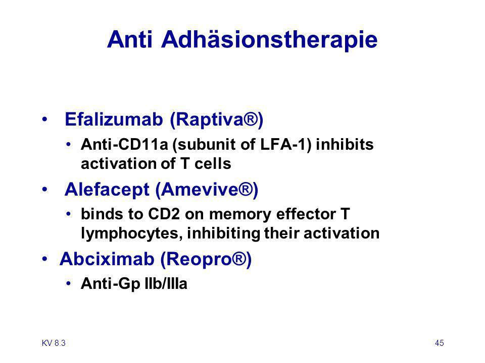 KV 8.345 Anti Adhäsionstherapie Efalizumab (Raptiva®) Anti-CD11a (subunit of LFA-1) inhibits activation of T cells Alefacept (Amevive®) binds to CD2 o