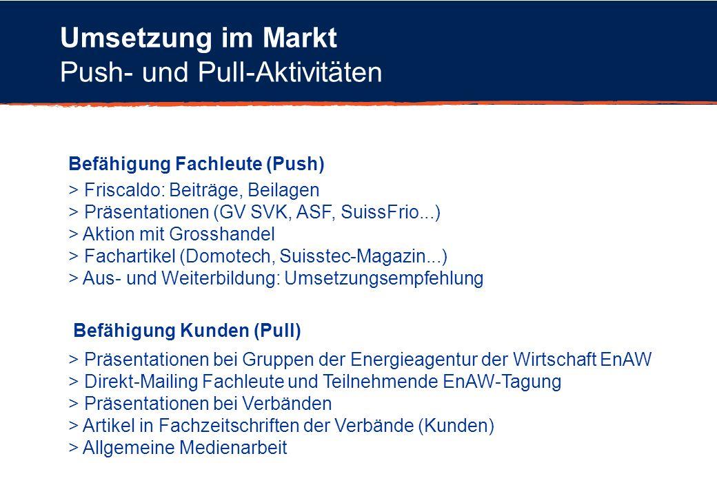 Umsetzung im Markt Push- und Pull-Aktivitäten Befähigung Fachleute (Push) Befähigung Kunden (Pull) > Friscaldo: Beiträge, Beilagen > Präsentationen (G
