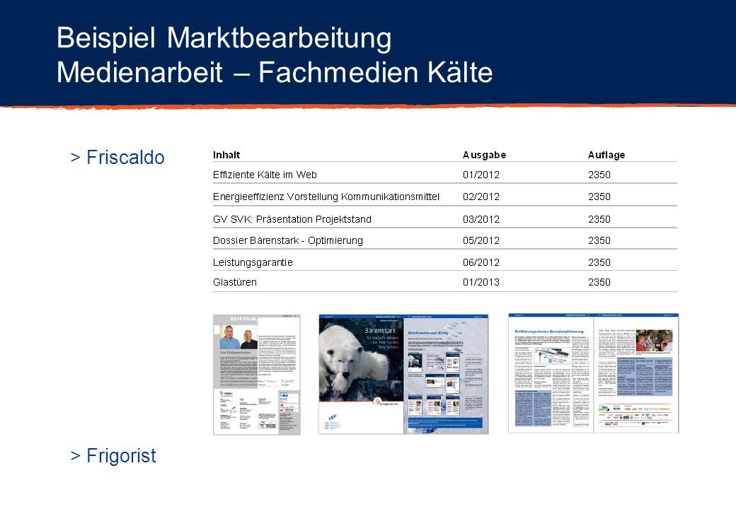 Beispiel Marktbearbeitung Medienarbeit – Fachmedien Kälte > Friscaldo > Frigorist