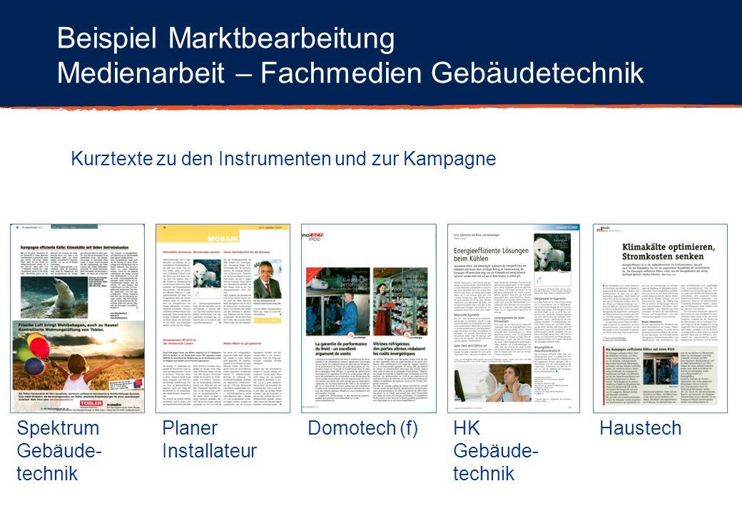 Beispiel Marktbearbeitung Medienarbeit – Fachmedien Gebäudetechnik Kurztexte zu den Instrumenten und zur Kampagne Spektrum Gebäude- technik Planer Ins