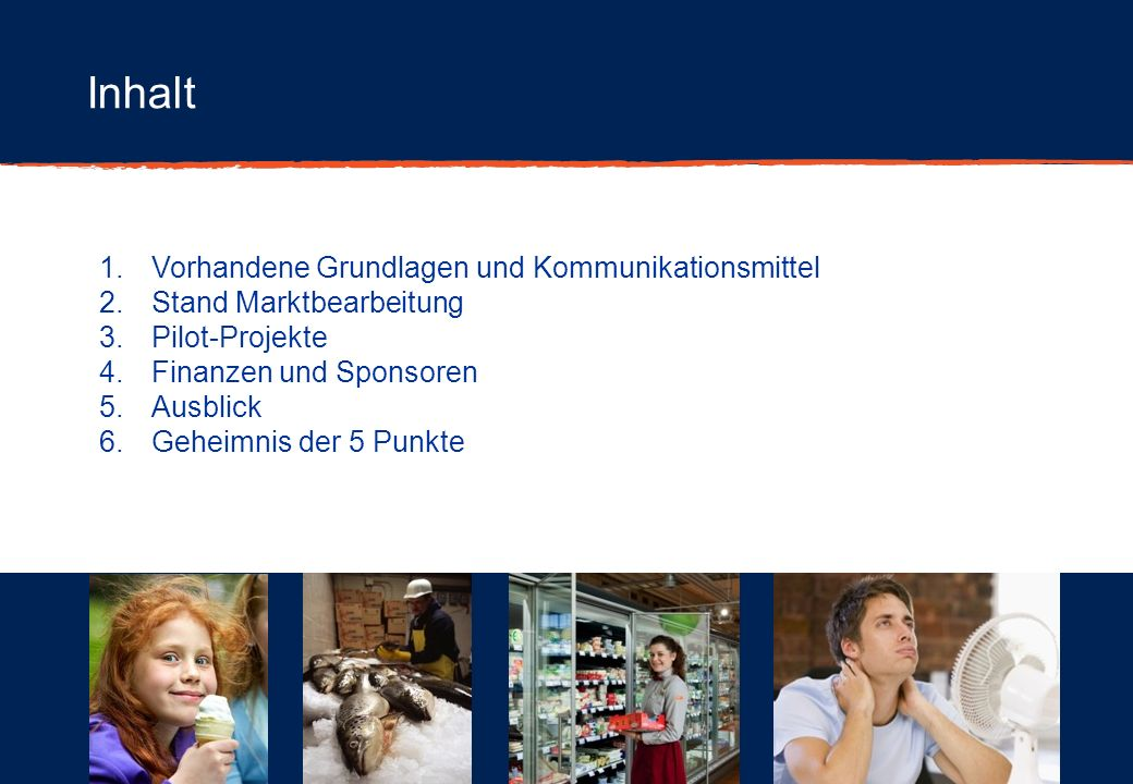 Inhalt 1.Vorhandene Grundlagen und Kommunikationsmittel 2.Stand Marktbearbeitung 3.Pilot-Projekte 4.Finanzen und Sponsoren 5.Ausblick 6.Geheimnis der