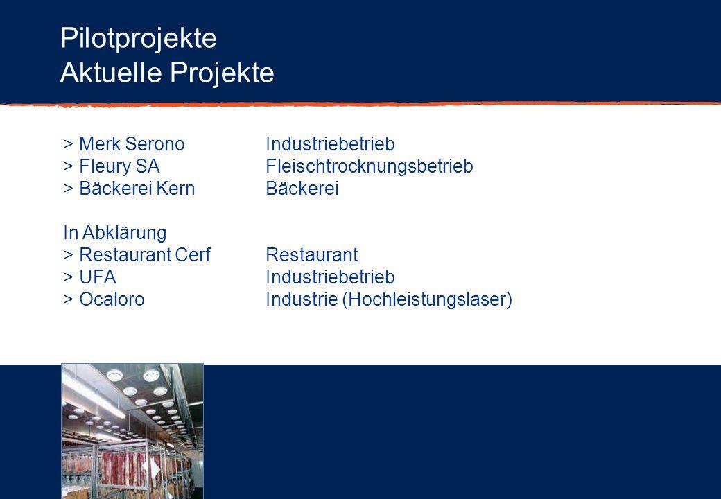 Pilotprojekte Aktuelle Projekte > Merk SeronoIndustriebetrieb > Fleury SAFleischtrocknungsbetrieb > Bäckerei KernBäckerei In Abklärung > Restaurant Ce