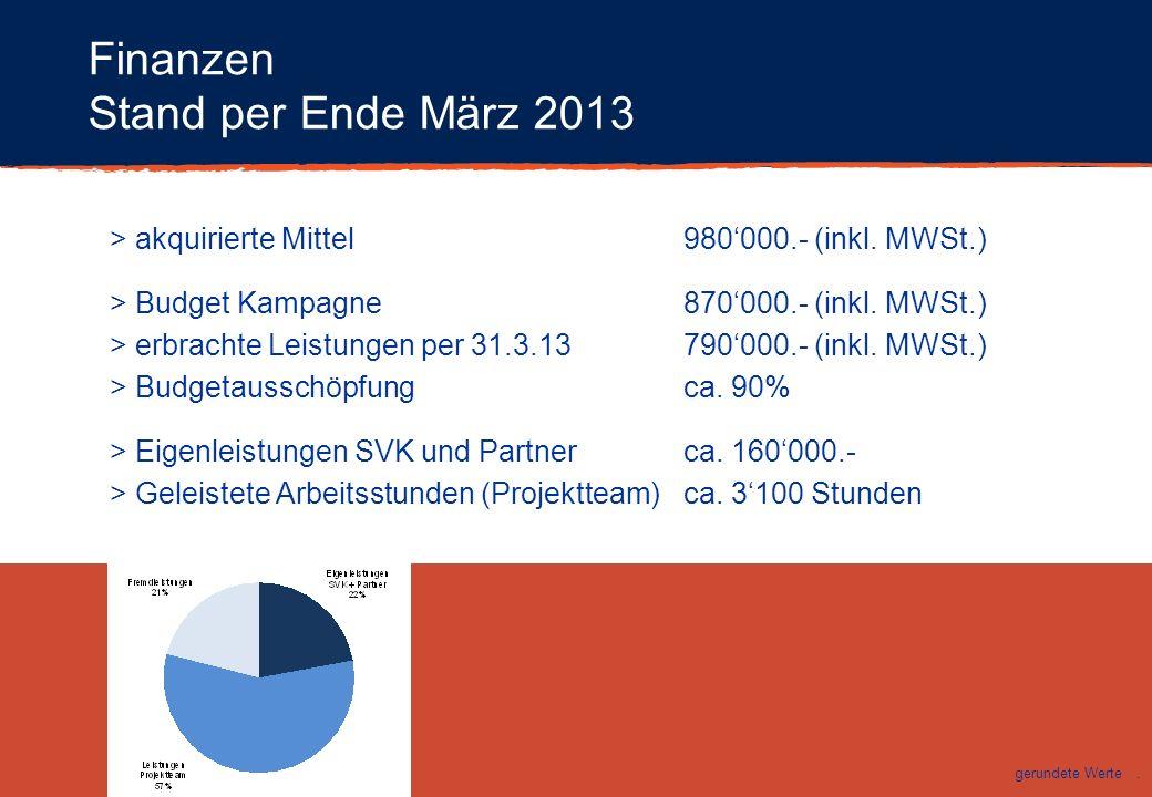 Finanzen Stand per Ende März 2013 > akquirierte Mittel980000.- (inkl. MWSt.) > Budget Kampagne870000.- (inkl. MWSt.) > erbrachte Leistungen per 31.3.1