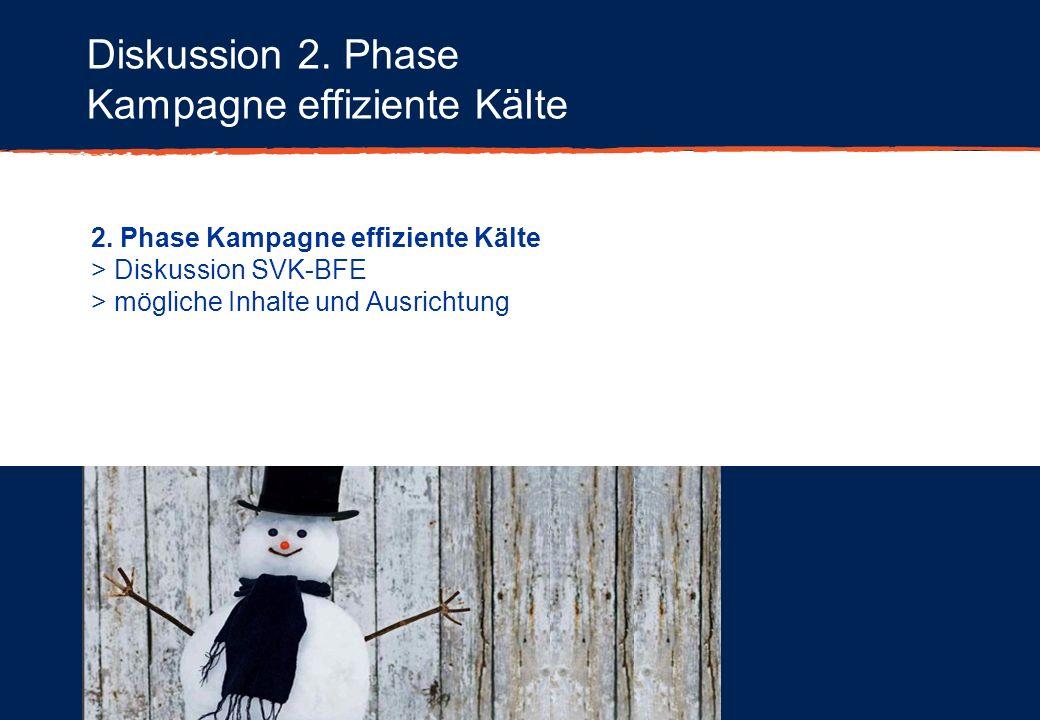 Diskussion 2. Phase Kampagne effiziente Kälte 2. Phase Kampagne effiziente Kälte > Diskussion SVK-BFE > mögliche Inhalte und Ausrichtung