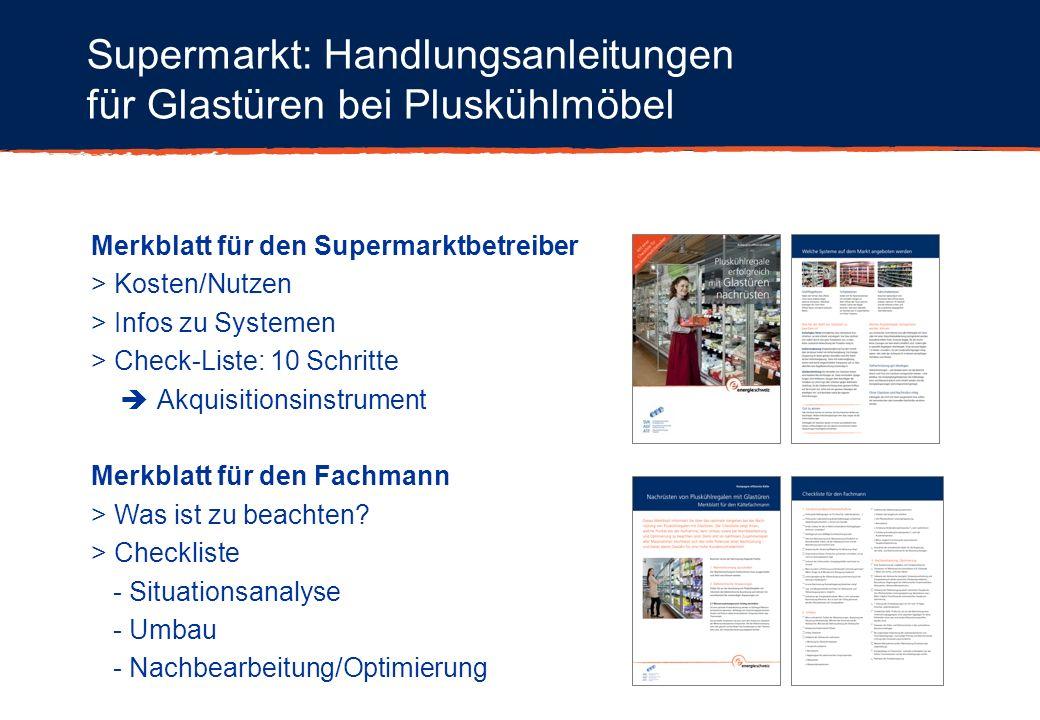 Merkblatt für den Supermarktbetreiber > Kosten/Nutzen > Infos zu Systemen > Check-Liste: 10 Schritte Akquisitionsinstrument Merkblatt für den Fachmann