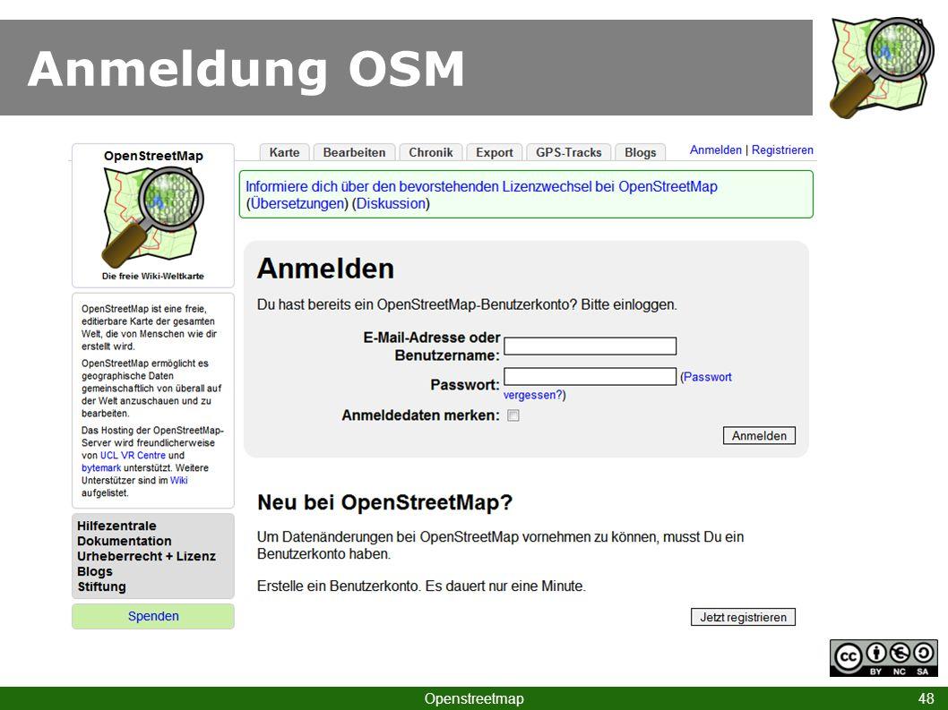 Anmeldung OSM Openstreetmap 48