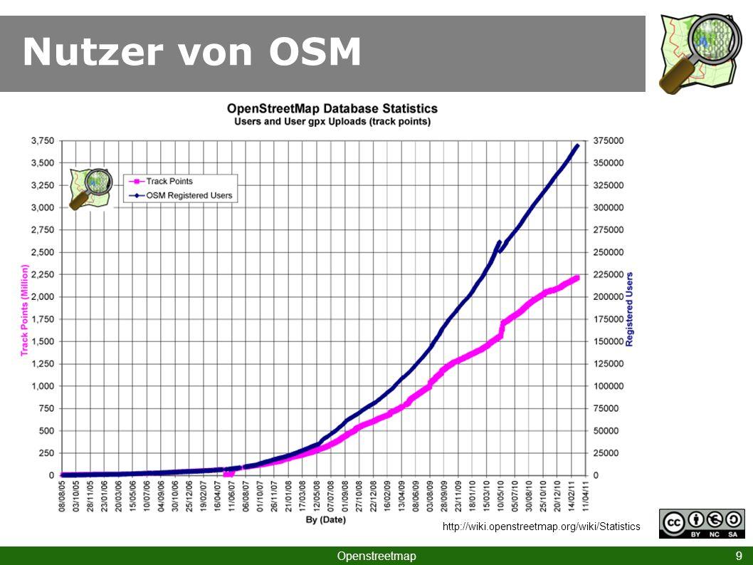 Nutzer von OSM Openstreetmap 9 http://wiki.openstreetmap.org/wiki/Statistics