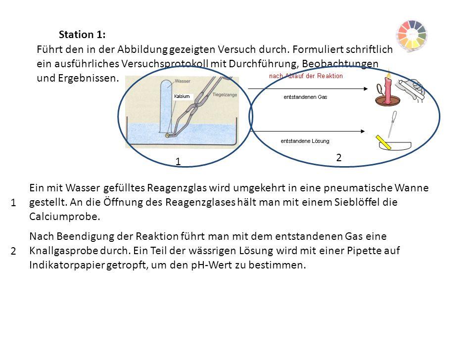 Station 1: Führt den in der Abbildung gezeigten Versuch durch. Formuliert schriftlich ein ausführliches Versuchsprotokoll mit Durchführung, Beobachtun
