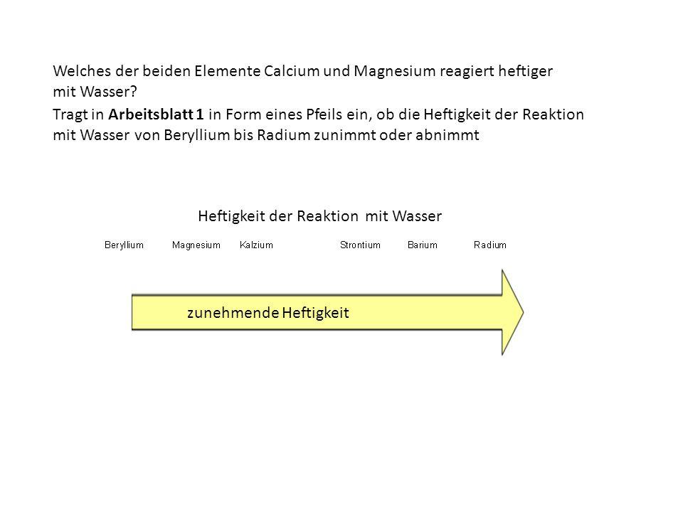Welches der beiden Elemente Calcium und Magnesium reagiert heftiger mit Wasser? Heftigkeit der Reaktion mit Wasser Tragt in Arbeitsblatt 1 in Form ein