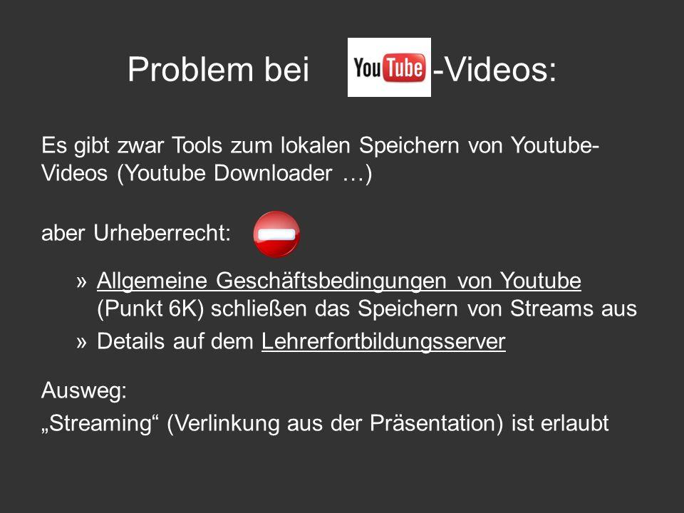 Es gibt zwar Tools zum lokalen Speichern von Youtube- Videos (Youtube Downloader …) aber Urheberrecht: »Allgemeine Geschäftsbedingungen von Youtube (P