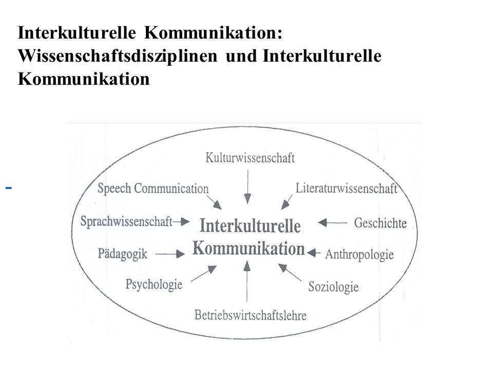 Interkulturelle Kommunikation: Wissenschaftsdisziplinen und Interkulturelle Kommunikation -