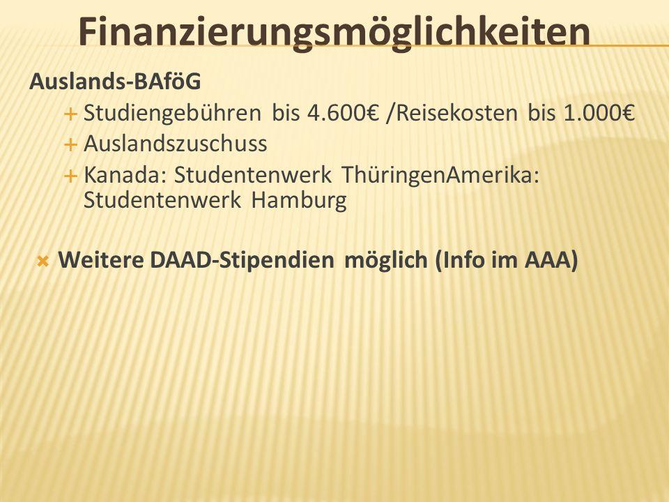 Finanzierungsmöglichkeiten Auslands-BAföG Studiengebühren bis 4.600 /Reisekosten bis 1.000 Auslandszuschuss Kanada: Studentenwerk ThüringenAmerika: St