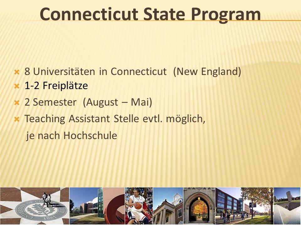California State Program 23 Universitäten in Kalifornien 1 Freiplatz 2 Semester (August – Mai) TOEFL nötig