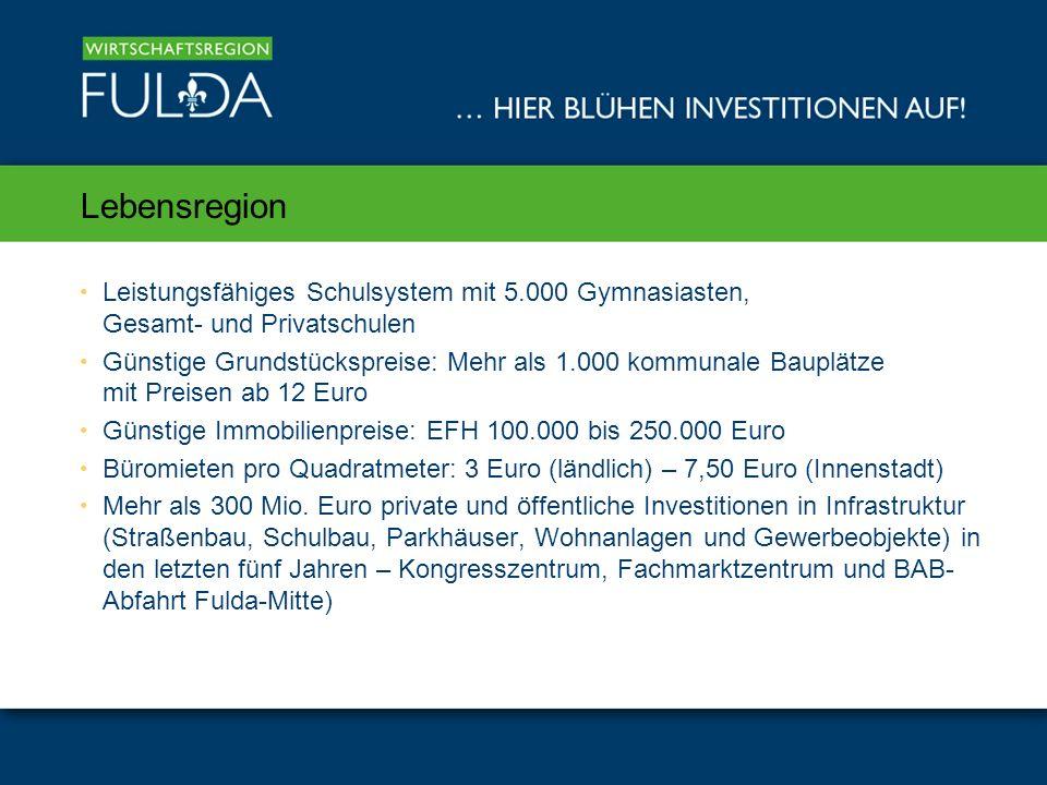 Lebensregion Leistungsfähiges Schulsystem mit 5.000 Gymnasiasten, Gesamt- und Privatschulen Günstige Grundstückspreise: Mehr als 1.000 kommunale Bauplätze mit Preisen ab 12 Euro Günstige Immobilienpreise: EFH 100.000 bis 250.000 Euro Büromieten pro Quadratmeter: 3 Euro (ländlich) – 7,50 Euro (Innenstadt) Mehr als 300 Mio.
