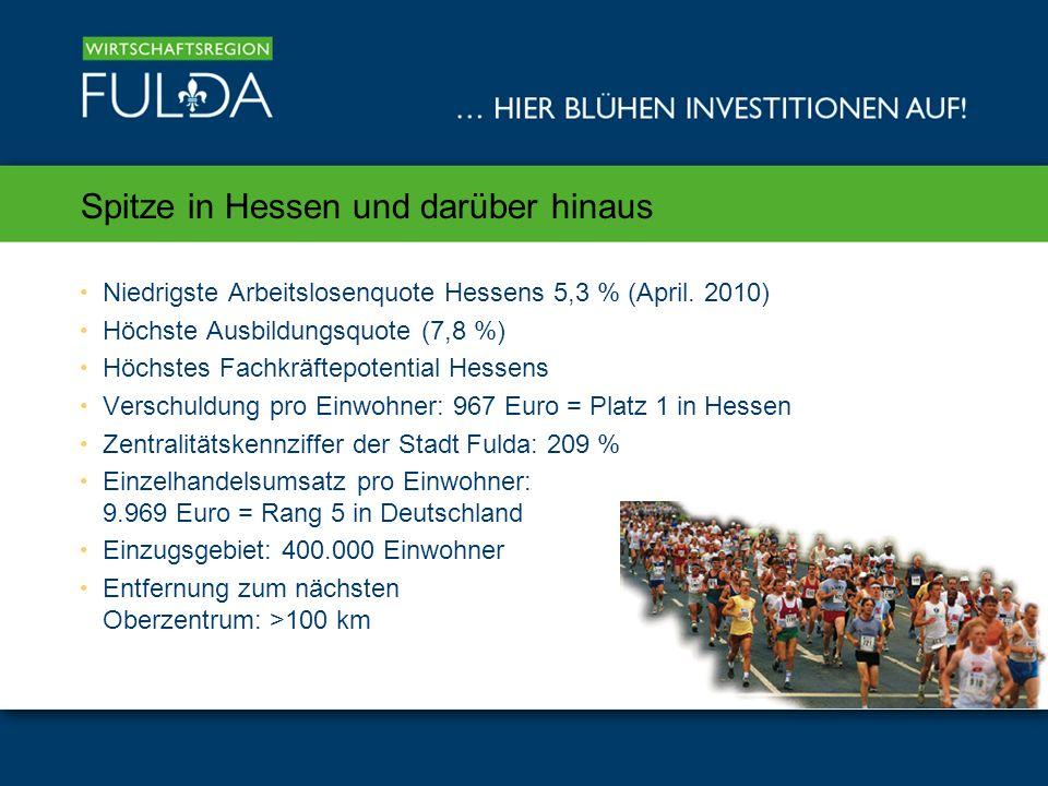 Spitze in Hessen und darüber hinaus Niedrigste Arbeitslosenquote Hessens 5,3 % (April.
