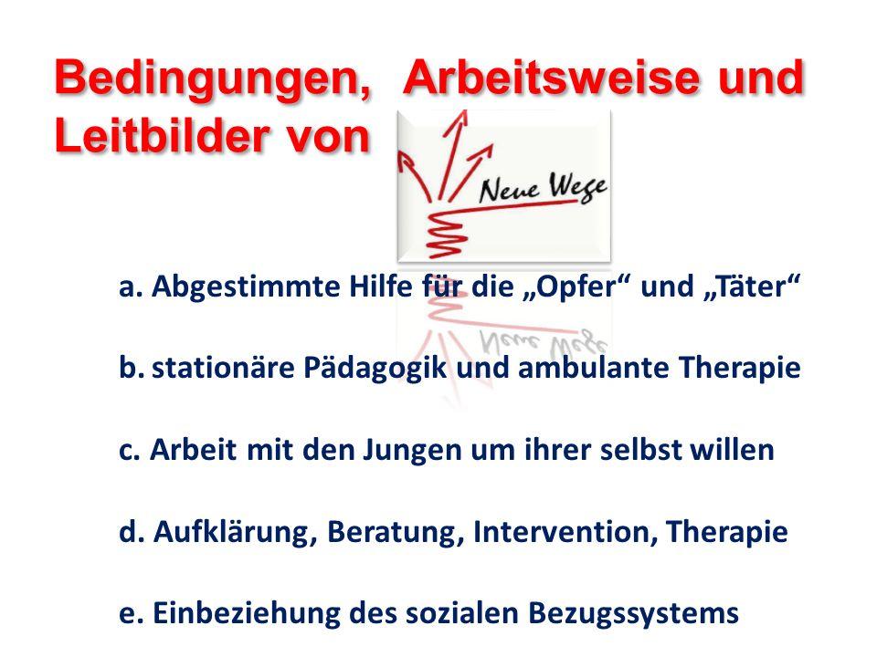 Bedingungen, Arbeitsweise und Leitbilder von a.Abgestimmte Hilfe für die Opfer und Täter b.stationäre Pädagogik und ambulante Therapie c. Arbeit mit d