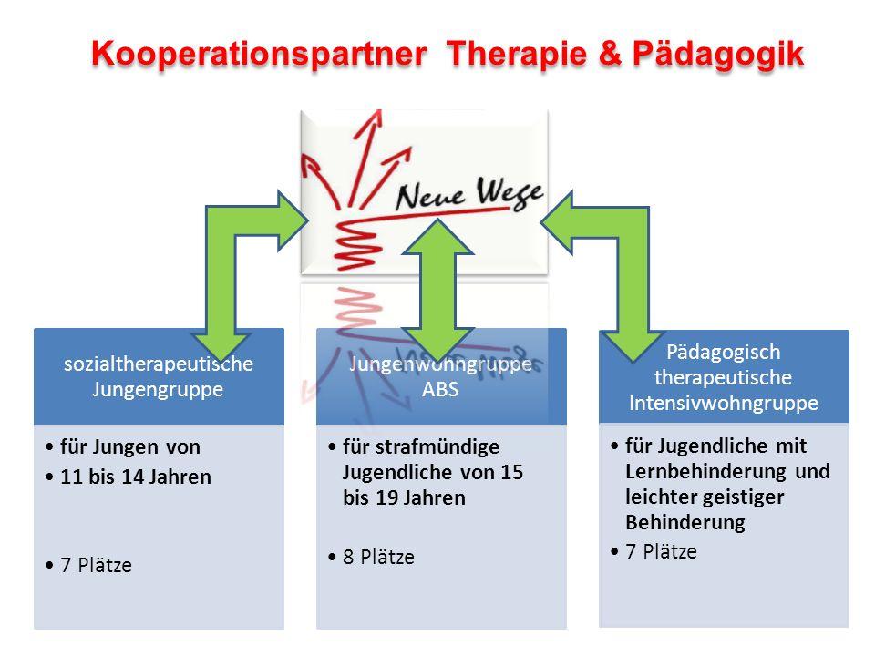 Kooperationspartner Therapie & Pädagogik sozialtherapeutische Jungengruppe für Jungen von 11 bis 14 Jahren 7 Plätze Jungenwohngruppe ABS für strafmünd