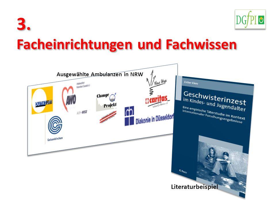 3. Facheinrichtungen und Fachwissen Ausgewählte Ambulanzen in NRW Literaturbeispiel