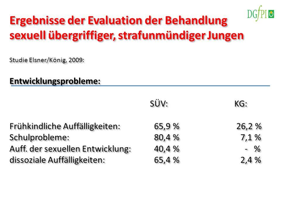 Ergebnisse der Evaluation der Behandlung sexuell übergriffiger, strafunmündiger Jungen Studie Elsner/König, 2009: Entwicklungsprobleme: SÜV:KG: Frühki