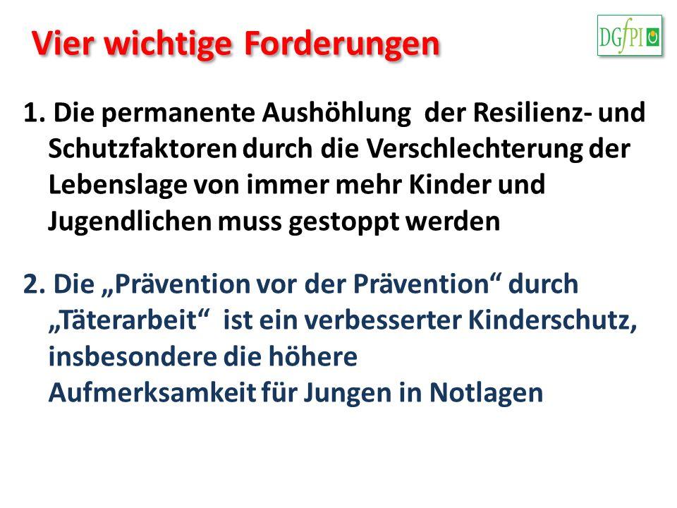 Vier wichtige Forderungen 1. Die permanente Aushöhlung der Resilienz- und Schutzfaktoren durch die Verschlechterung der Lebenslage von immer mehr Kind